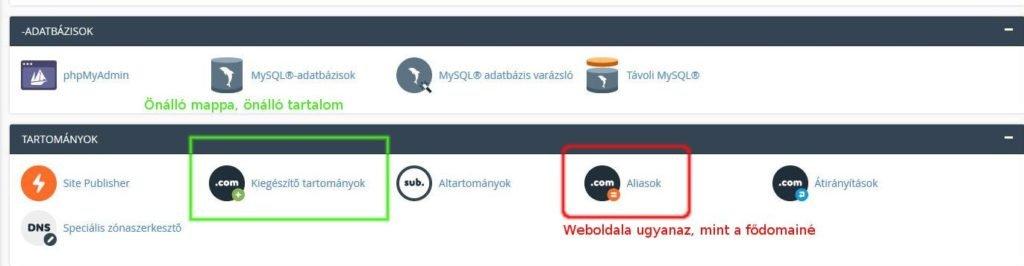 hozzáadott domain (= addon domain, kiegészítő tartományok) parkolt domain (=parked domain, .com aliasok)