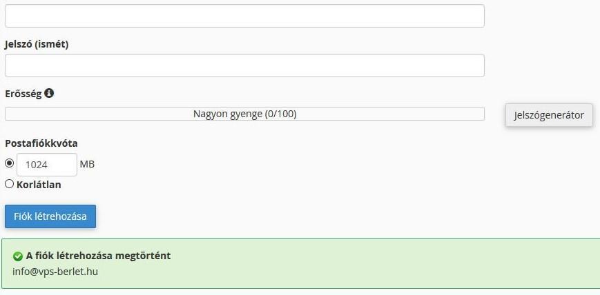 cpanel e-mail fiók létrejött hostit.hu