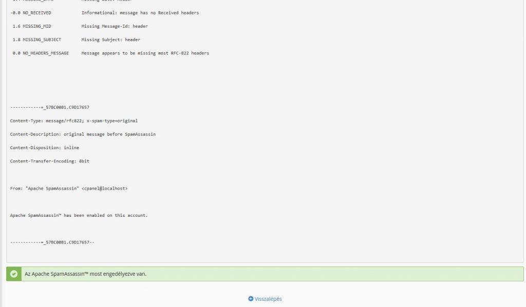 Spamassassin konfigurációs beállítások kiírása, bekapcsolás kész.