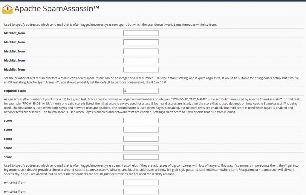 Apache SpamAssassin konfigurációs beállítások - blacklist_from, required_score, score, whitelist_from