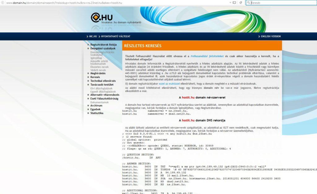 hostit.hu dns adatok a .hu domain Nyilvántartónál
