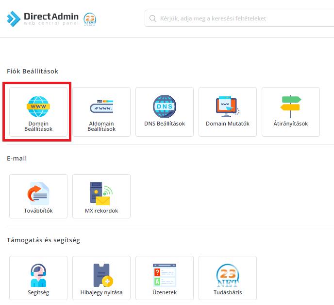 E-mail továbbító beállítása DirectAdmin felületen